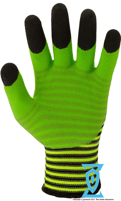 Перчатки рабочие стрейчевая покрытая вспененным латексом с двойным обливом на пальцах #69-6