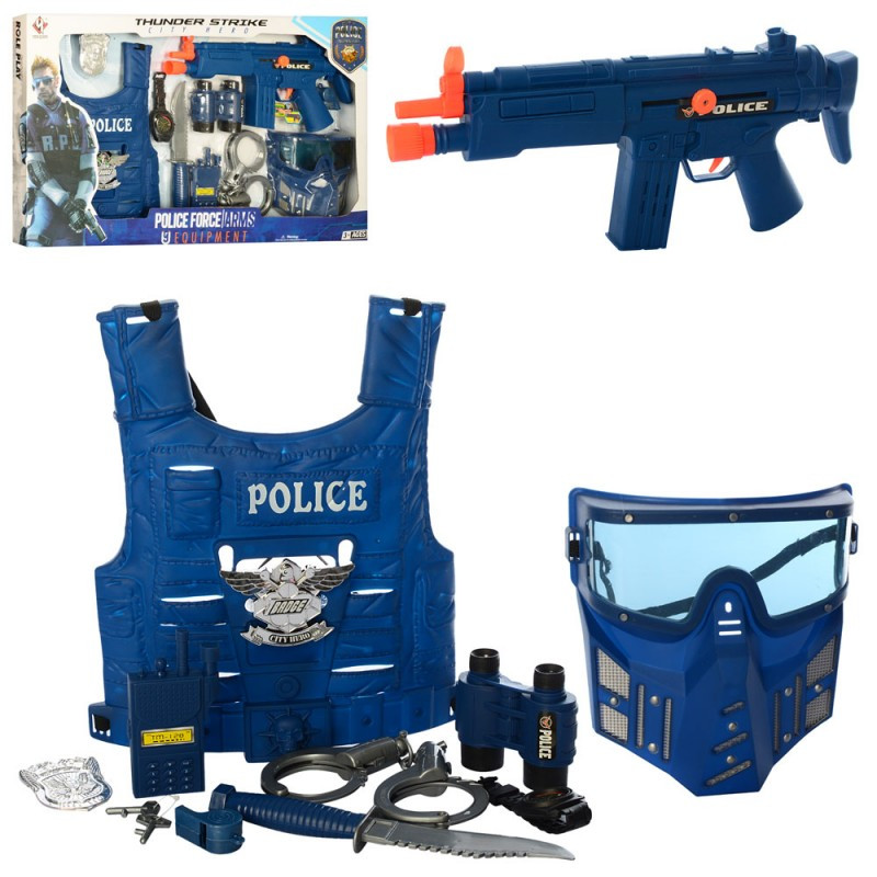 Набор полиции (спецназ), детский набор полицейского с бронежилетом, P013