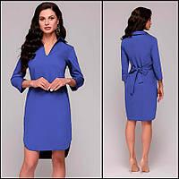 Синее платье-рубашка Gven (цвета синий, марсала, красный)