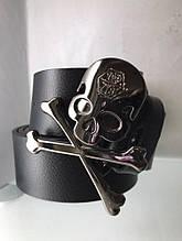 Кожаный мужской пояс с черепом