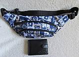 Сумка на пояс бананка поясная стильная модная мужская женская барсетка через плечо Валюта синяя Польша, фото 3