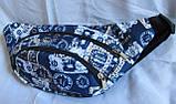 Сумка на пояс бананка поясная стильная модная мужская женская барсетка через плечо Валюта синяя Польша, фото 5