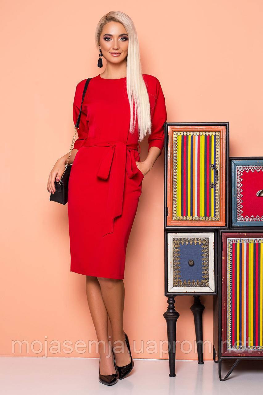 87770da94adb762 Красное платье с поясом и цельнокроеным рукавом - Интернет-магазин