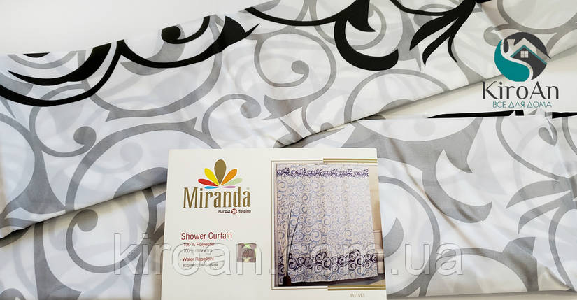 Штора для ванной/душа Миранда (серая с черным) MOTIVES, фото 2