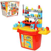 Набор инструментов и Конструктор для малышей со столиком, 46 деталей, инструменты, ящик, 8424