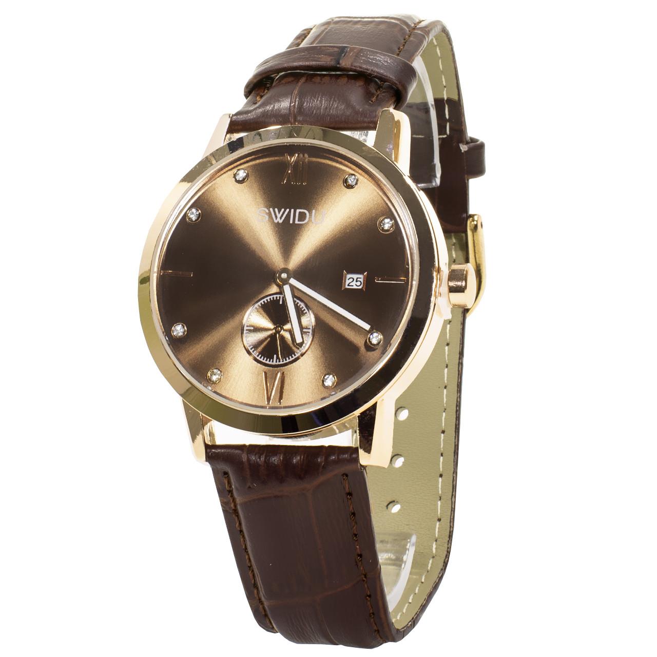 ➨Наручные часы SWIDU SWI-018 Brown + Gold мужские инкрустация камнями унисекс