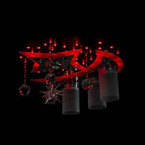 """Люстра """"космос"""" з підсвічуванням на пульті управління(червоний, синій, фіолетовий) P5-S0838/3+1/Ø450/CH+BK+WT"""