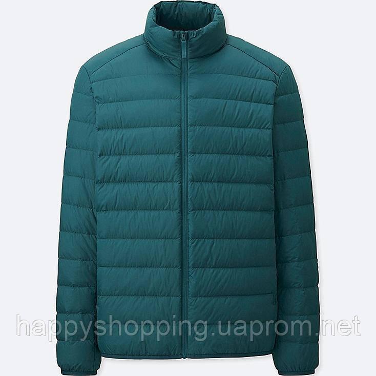 Мужская зеленая куртка на пуху  популярного  японского брнеда Uniqlo