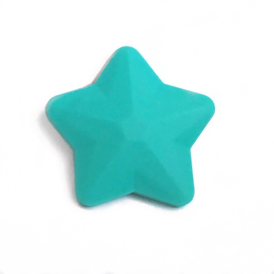 Звезда большая (бирюза) 45мм, силиконовые бусины