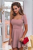 Модное платье мини отрезная талия юбка клеш с коротким рукавом пудрового цвета