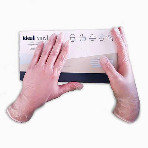 Перчатки виниловые Ideal Vinyl неопудренные нестерильные 100 шт  размер   L прозрачные, фото 2