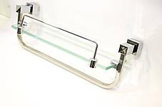 Полка на 2-а отверстия 350 мм ( Одно стекло и держатель полотенца ) ПС601, фото 2