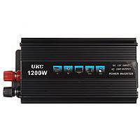 Преобразователь напряжения AC / DC UKC SSK 1200W (инвертор 12В/220В 1200 ватт), авто инвертор, фото 1