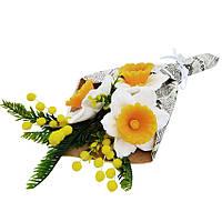 Мыльный букет на подарок  к празднику интерьерная ароматическая композиция Нарциссы с мимозой 180 г