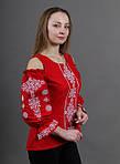 Нарядная вышитая блуза красная с белой вышивкой, фото 2
