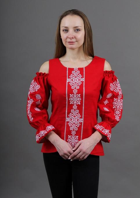 Нарядная вышитая блуза красная с белой вышивкой