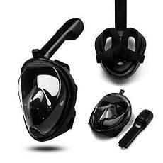 Інноваційна маска для снорклінга підводного плавання Easybreath чорна