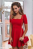 Демисезонное платье мини отрезная талия юбка расклешенная с коротким рукавом красное