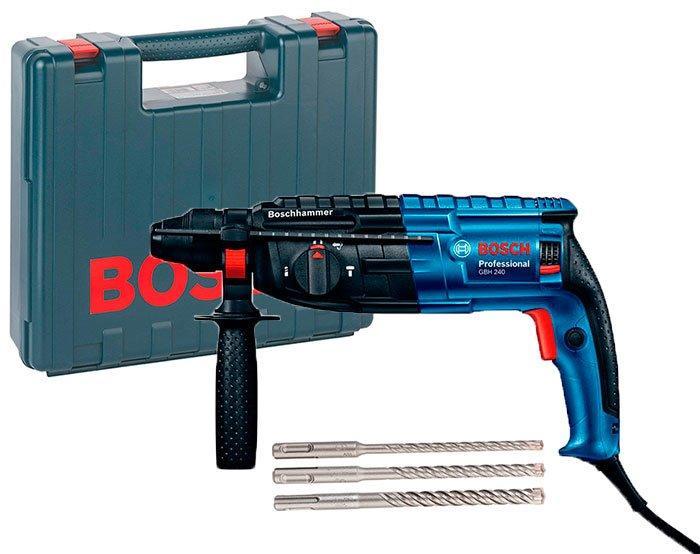 Перфоратор Bosch GBH 240 + набор 3 буров + чемодан (061127210D)