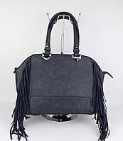 Женская сумка саквояж David Jones 4377 темно-синяя с бахромой, фото 1