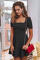 3de67c417b1 Модное платье выше колен юбка солнце клеш с коротким рукавом черного цвета