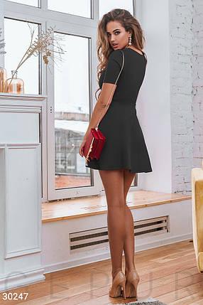 Модное платье выше колен юбка солнце клеш с коротким рукавом черного цвета, фото 2