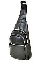 Мужская сумка мини-рюкзак через плечо Dr.Bond 1107 бананка черная кожзам, фото 1