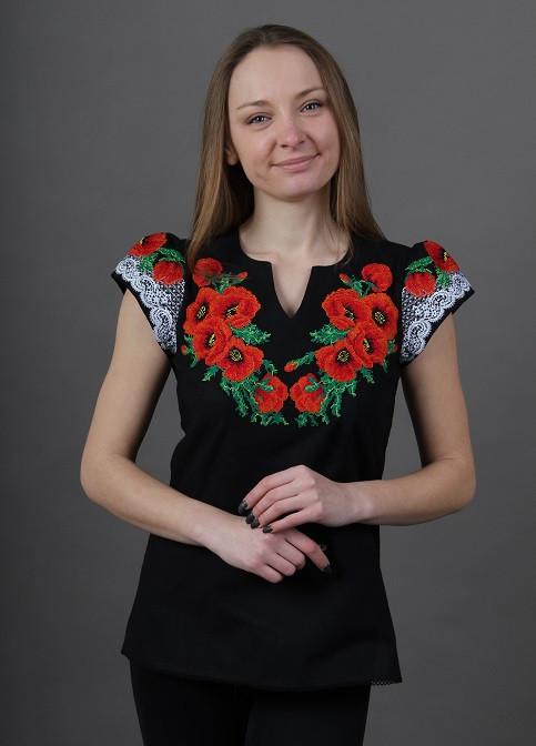 Женская вышитая блуза черная с красными маками