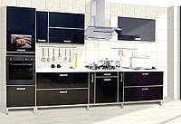 """Прямая черная кухня """"Пласт арт.38"""" из пластика"""