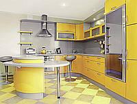 """Желтая кухня из МДФ """"Стайл арт.43"""" с островом"""