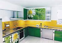 "Зеленая кухня ""Корнер арт.46"" с фотопечатью Цветы"