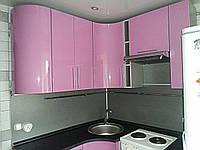 """Радиусная кухня из МДФ """"Выгода арт.76"""" - декор глянец розовый"""