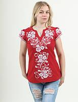 Красная блуза с вышитым белым цветочным орнаментом  рукава-фонарики