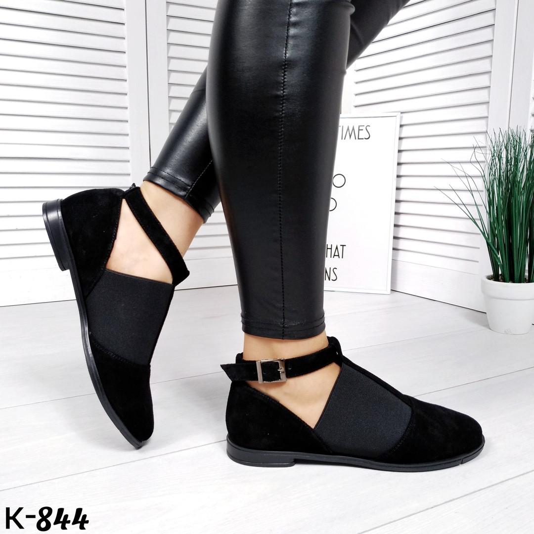 Женски черные замшевые туфли с резинкой Brask