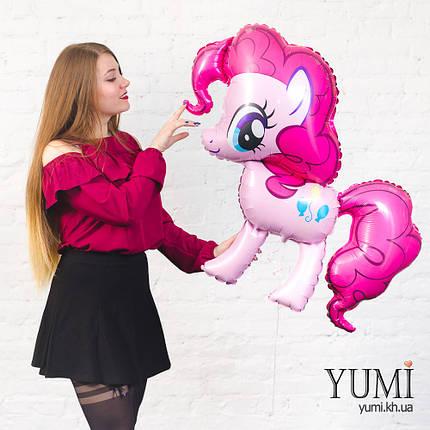 Воздушный фольгированный шар с гелием Пинки Пай лошадка розовая, фото 2