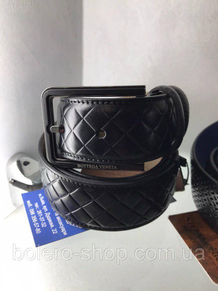 Кожаный мужской пояс ремень черный  Bottega Veneta