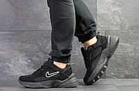 Кроссовки мужские Nike M2K Tekno в стиле Найк М2К Техно, нубук, текстиль код SD-7527. Черные
