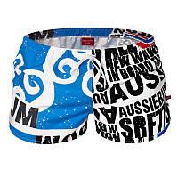 Мужские шорты для плавания голубые с надписями опт