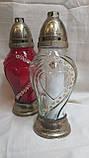 Скляна лампадка зі свічкою, кришка і підставка з пластику, вис. 33 див., 135/105 (ціна за 1 шт + 30 гр.), фото 2