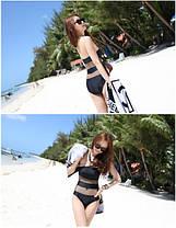 Стильный монокини купальник на одно плечо и вставками в сеточку, фото 2