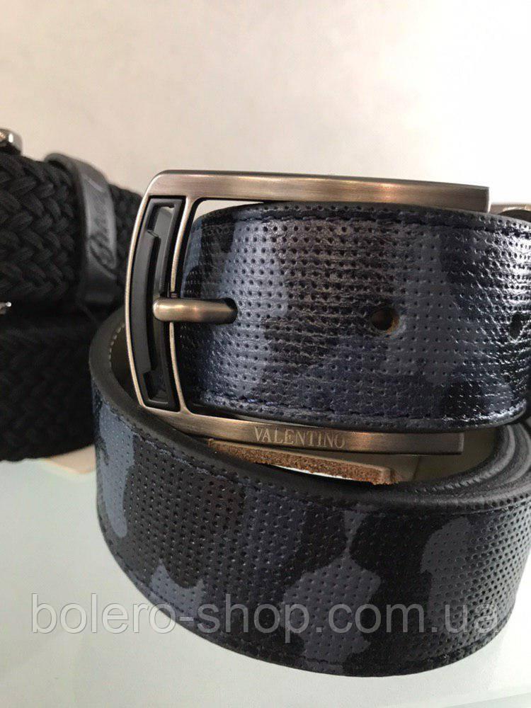 Кожаный мужской пояс ремень серо-черный Valentino