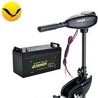 Электромтор для лодки Fisher 36 +100a/h GEL аккумулятор. Комплект; (Лодочный электромотор Фишер 36);