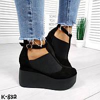 Женские черные замшевые туфли на танкетке Lucky, фото 1