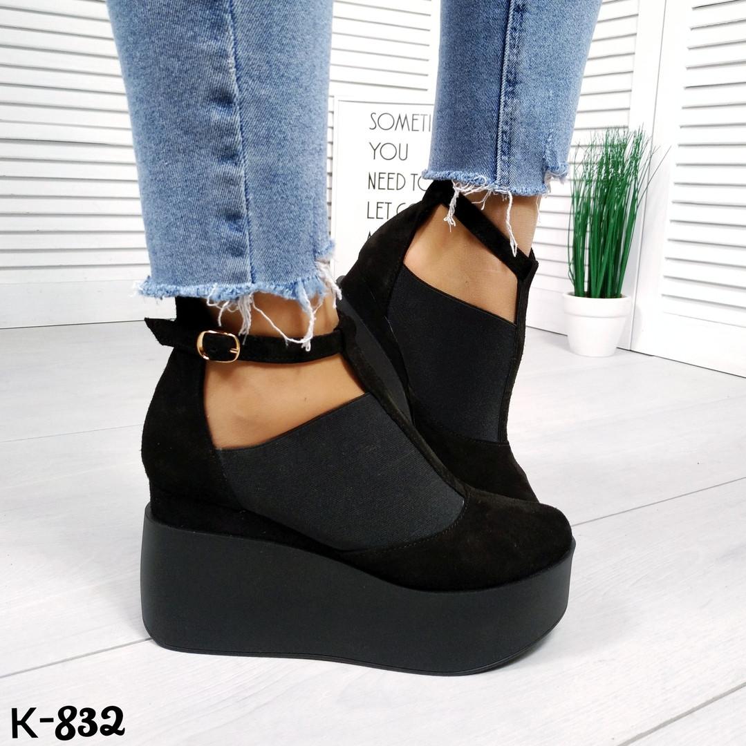Женские черные замшевые туфли на танкетке Lucky