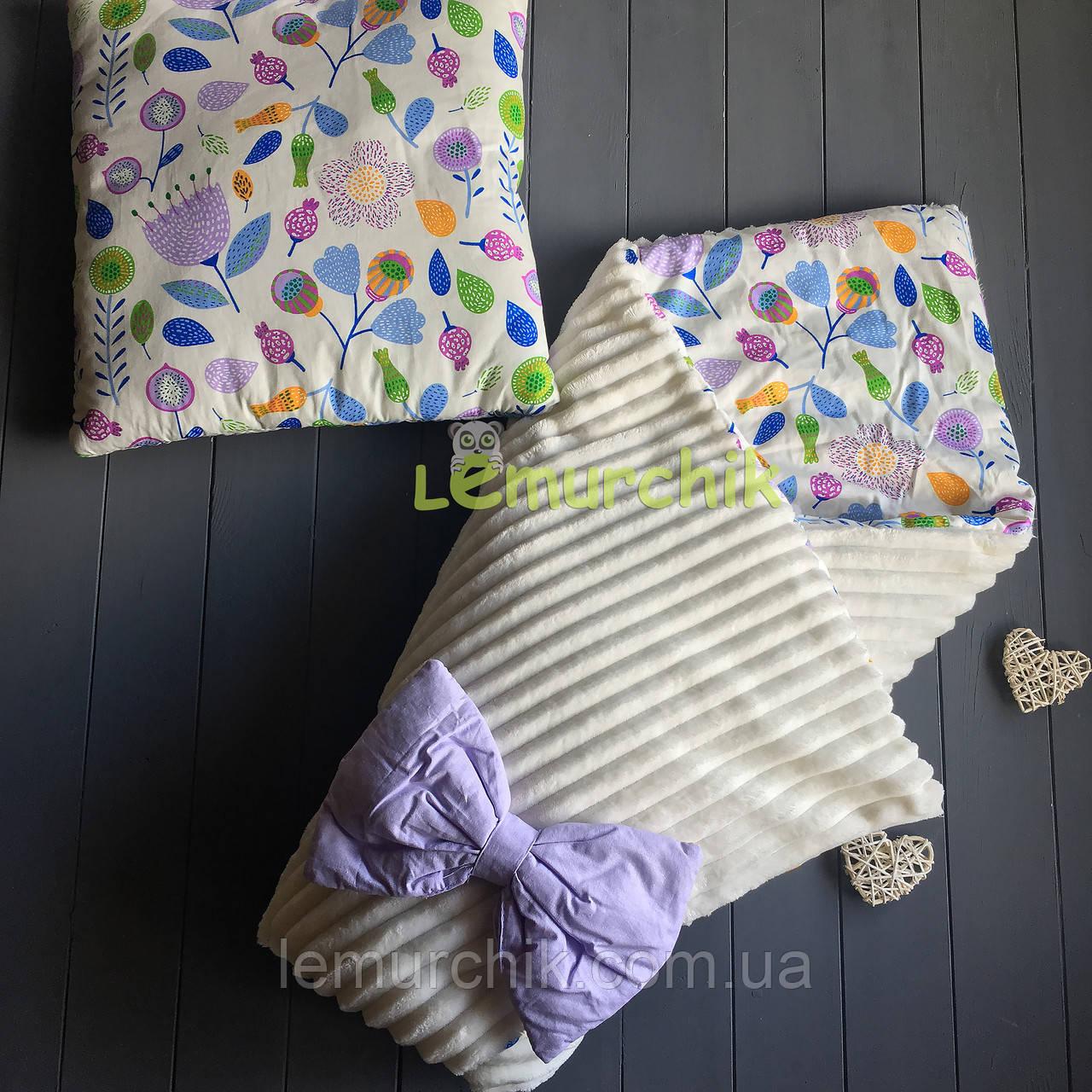 Комплект плюшевый плед-конверт с хлопковой подкладкой и подушка, цветочки