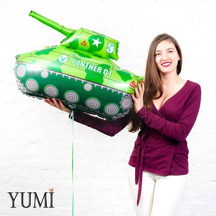 Фольгированный гелиевый шар для мальчика зелёный танк, фото 2