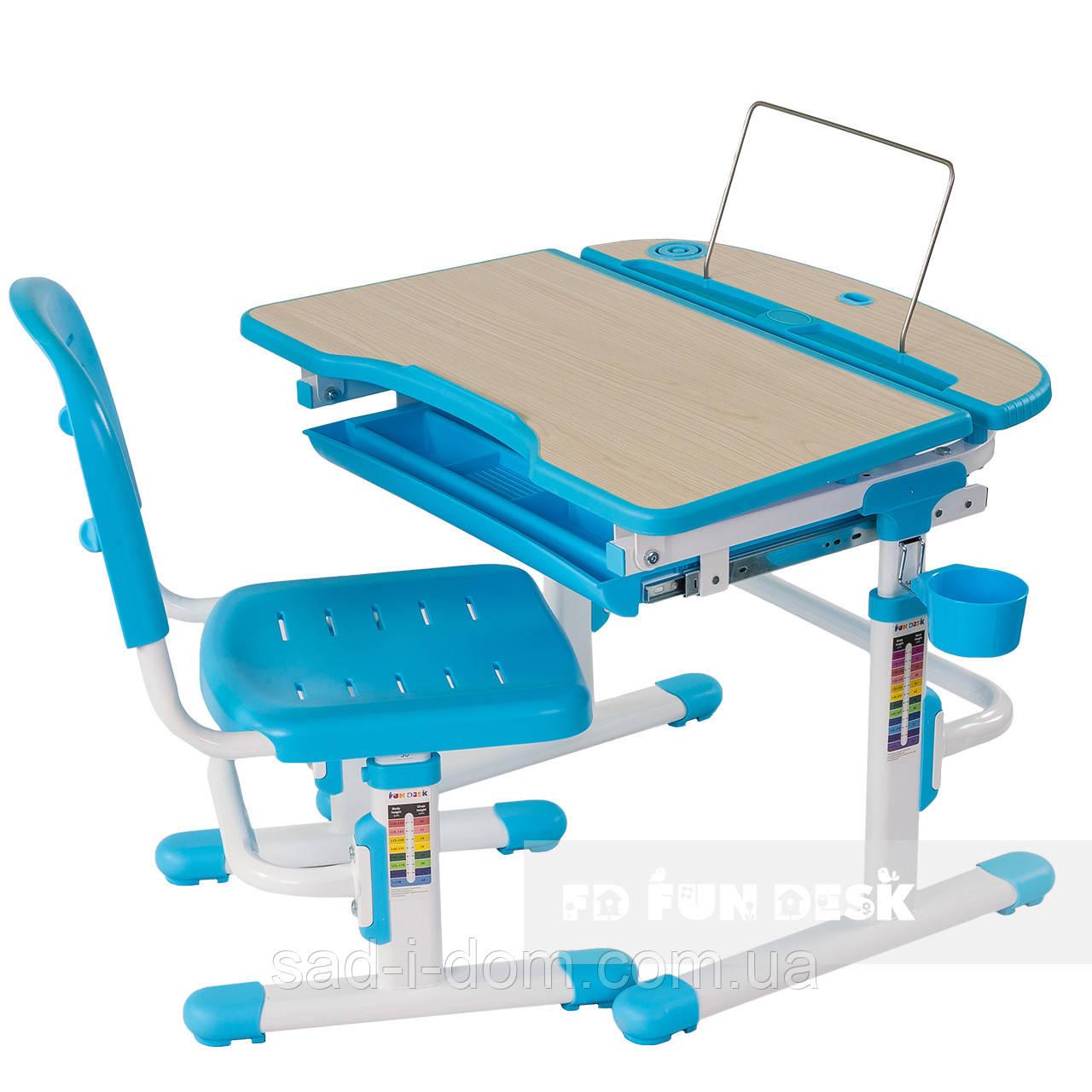 Парта растишка для школьника, детская парта и стул FunDesk Sorriso, голубая
