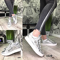 Женские серебряные кожаные кеды РР /женская обувь/ 1220                 , фото 1