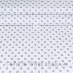"""Ткань шириной 240 см """"Горошек 9 мм"""" песочно-бежевый на белом №2069"""
