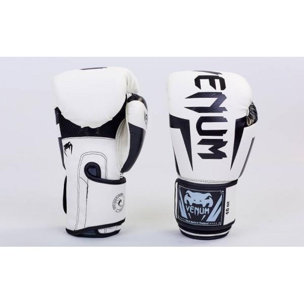 Перчатки боксерские PU на липучке VENUM (BO-5698) 10 унций Белый